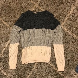 WOMENS TRI COLORED KNITTED SWEATER FROM FOREVER21